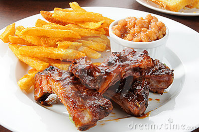 Baby back ribs and fries