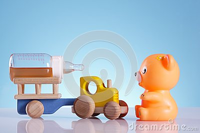 Baby background, bear and tractor
