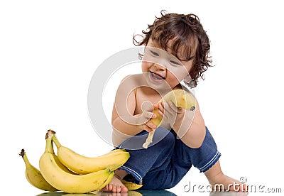 Baby with banana.