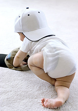 Baby in a baseball cap