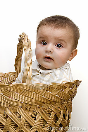A baby in a basket.
