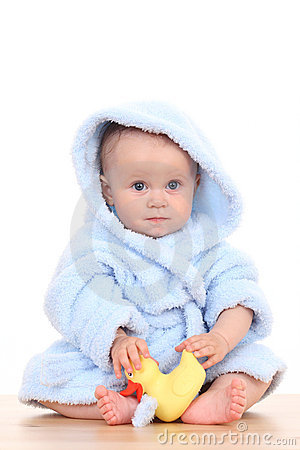 Baby in bathrobe