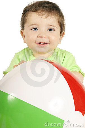 Baby and Beach Ball