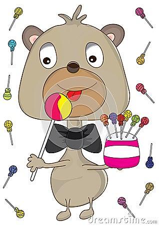 Baby Bear Eating Lollipop_eps
