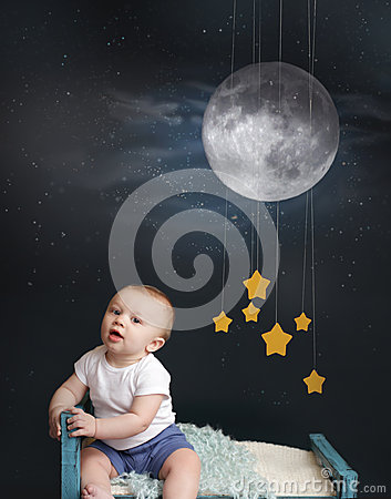 Baby Bed Time with Stars, Moon and Mobile