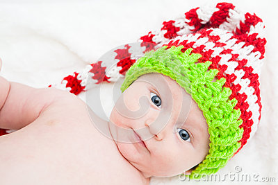 Baby With Big Eyes Wearing Cute Knit Hat
