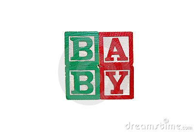 Toy Blocks Spell Baby - Isolated on White