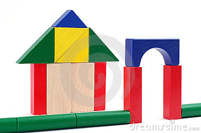 Baby blocks figure - Gate and house