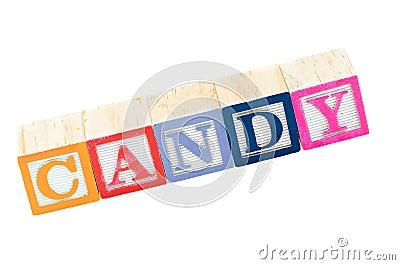Baby blocks spelling candy