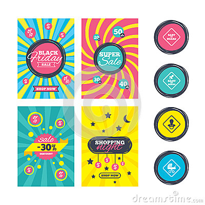 Baby on board icons. Infant caution signs. Vector Illustration