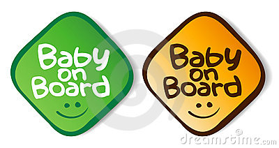 Baby on board stickers.