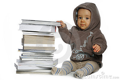 Baby with  books