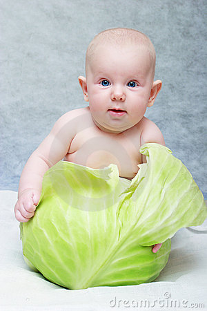 Free Baby Born From Cabbage Stock Photography - 1458202