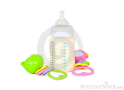 Baby bottle with milk