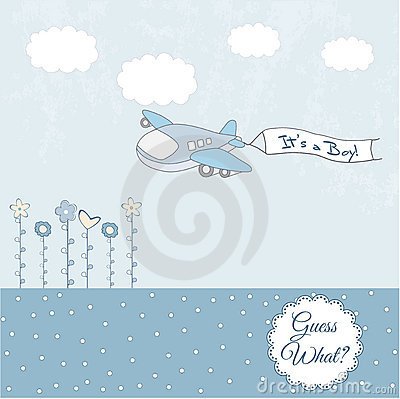 Baby Boy Arrival Announcement Card Royalty Free Stock Images ...