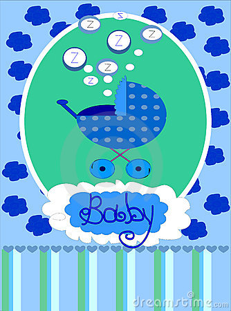 Baby boy arrival announcement card, .