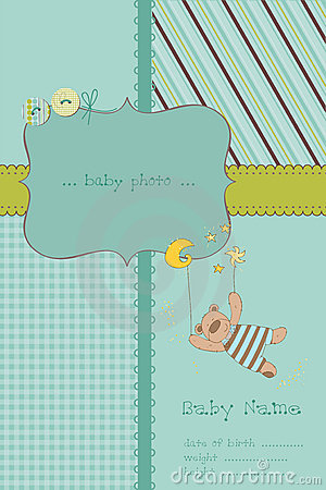 Free Baby Boy Arrival Card With Photo Frame Stock Photos - 21867153