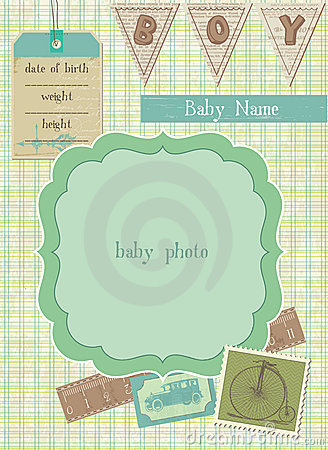 Free Baby Boy Arrival Card With Photo Frame Royalty Free Stock Image - 21867236