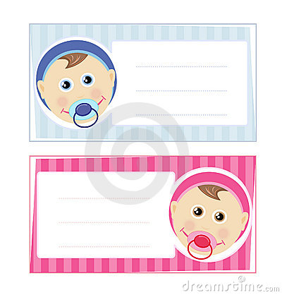 Baby boy and baby girl card design