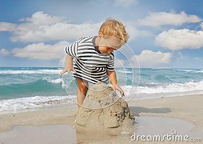Baby boy on beach