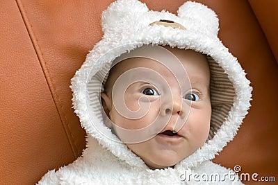 Baby boy in a bear suit