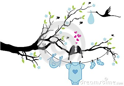 Baby boy with birds on tree, vector
