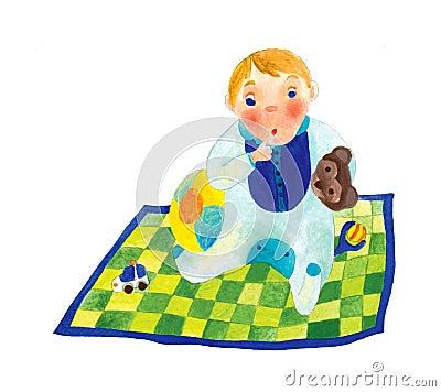 Baby Boy on a Blanket