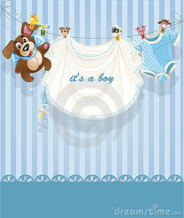 Baby boy blue openwork announcement card