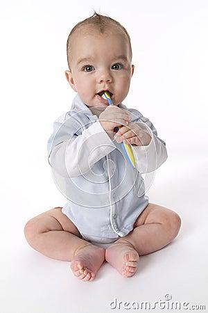 Free Baby Boy Brushing Teeth Stock Images - 15323994