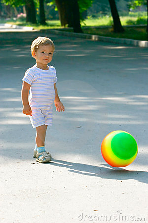 Baby boy with colorful ball