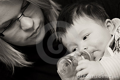 Baby boy drinking