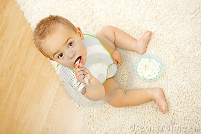 Baby boy eating