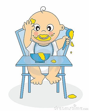 Baby boy eating up a highchair cartoon on white background