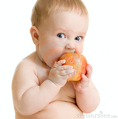 Baby Photo on Baby Boy Eating Healthy Food Isolated