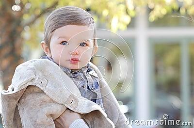 Baby Boy in Fall Coat