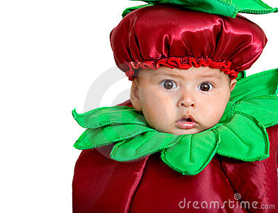 Baby boy in a fruit costume