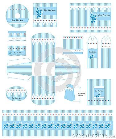 Baby boy gift templates set vector