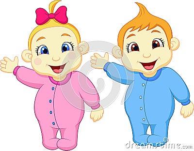 Baby boy and girl cartoon waving hand