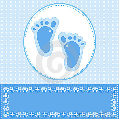 Baby boy greeting card with foot steps