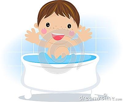 Baby boy having a bath