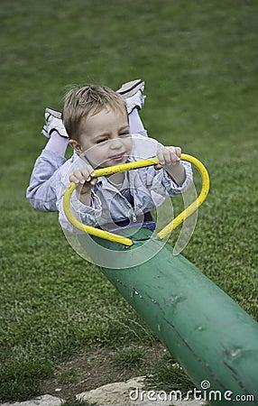 Baby boy having fun