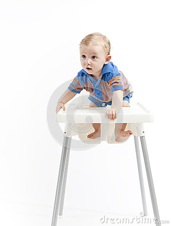 Baby boy in high chair