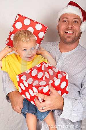 Baby boy with his father for Christmas