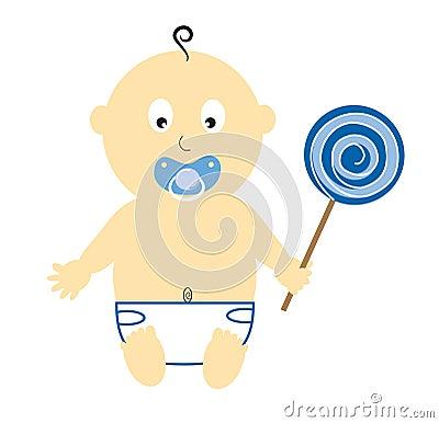 Baby Boy Holding Lollipop
