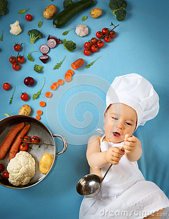 Free Baby Boy In Chef Hat With Cooking Pan Stock Image - 64827041