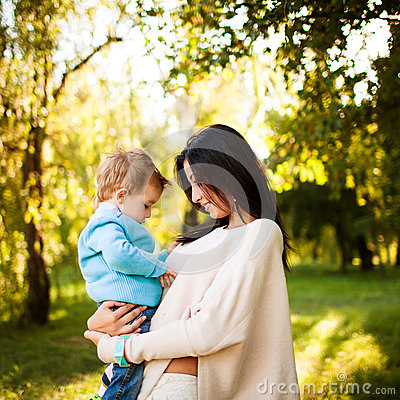 Free Baby Boy In The Park With His Mum Stock Image - 29869471