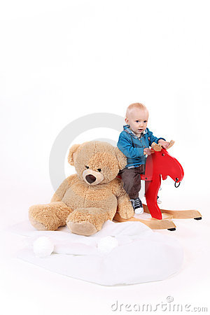 Free Baby Boy Is Riding A Rocker Stock Image - 17492991