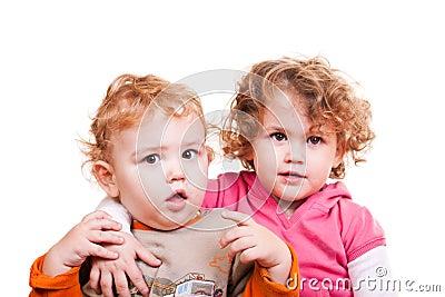 Baby boy and  little girl