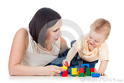 Baby boy and mother play
