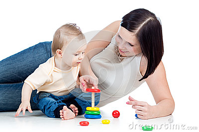 Baby boy and mother play together